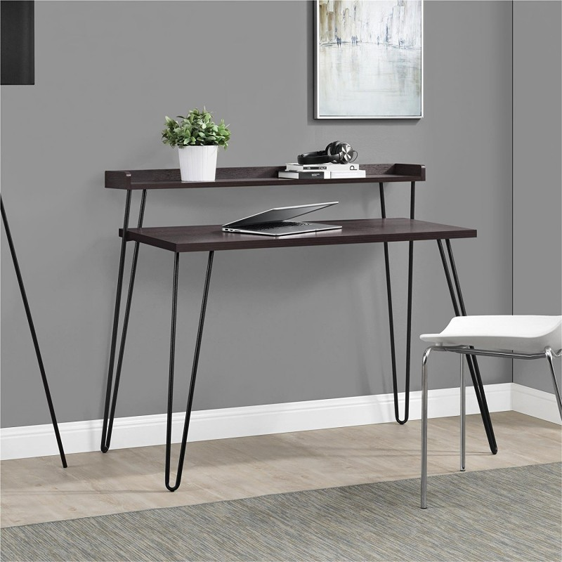 Ameriwood Home Haven Retro Desk with Riser, Espresso
