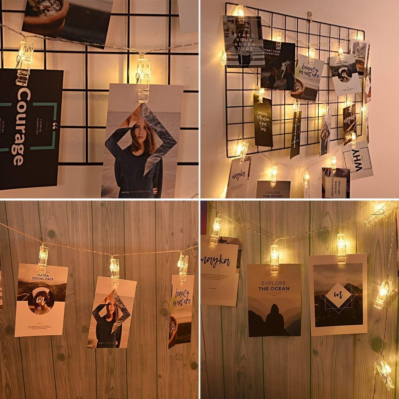 AOSTAR 20 LED Photos Clips String Lights (10ft. Warm White) Battery Operated Fairy String Lights Bedroom Hanging Photos, Cards Artworks