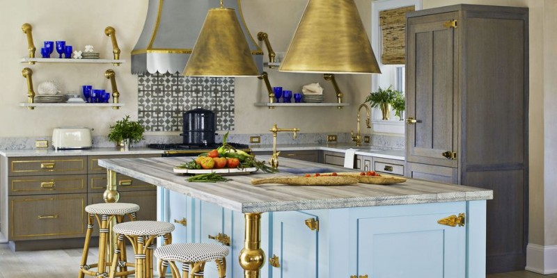 Bashaw Blue And Brass Kitchen