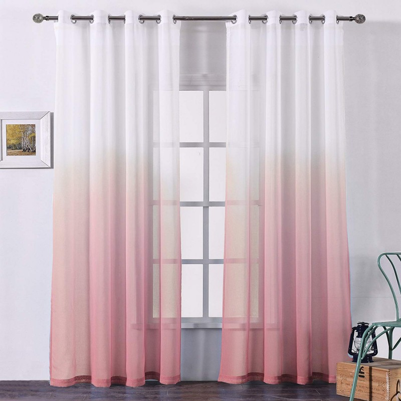 Bermino Faux Linen Sheer Curtains Voile Grommet Semi Sheer Curtains for Bedroom Living Room Set of 2 Curtain Panels 54 x 84 inch Pink Gradient