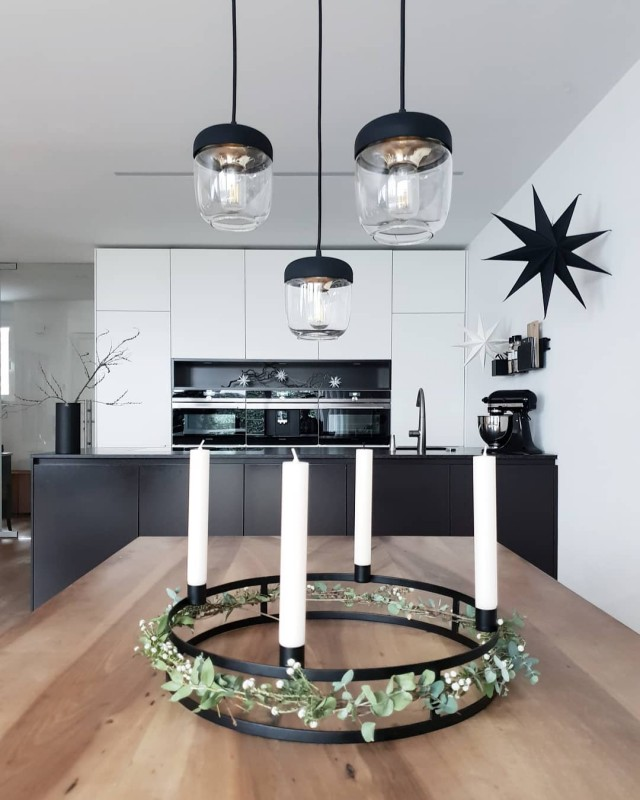 Black White Decorated Kitchen