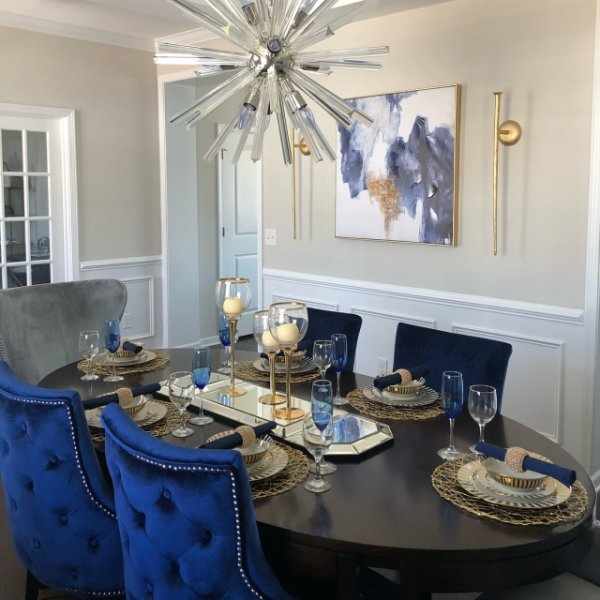 Elegant Blue - Grey Dinning Room