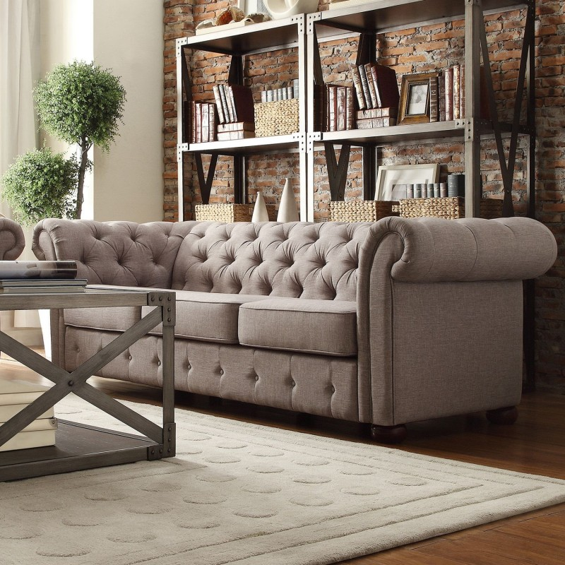 Chesterfield Gray Velvet Tufted Sofa