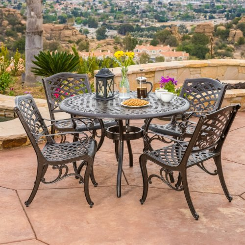 Christopher Knight Home 237091 Hallandale 5 Piece Cast Aluminum Outdoor Dining Set