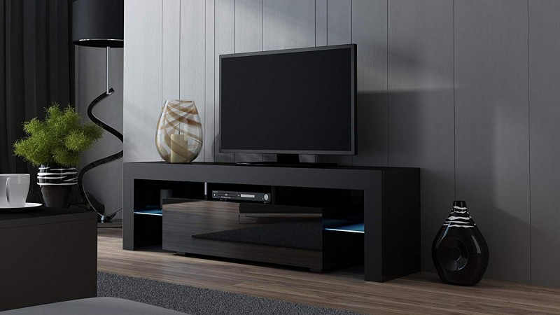 Concept Muebles TV Stand MILANO 160 Black- TV Cabinet with LEDs - Living Room Furniture - TV Console for up to 70-Inch TV screens - TV stand with LED lights (Black & Black)