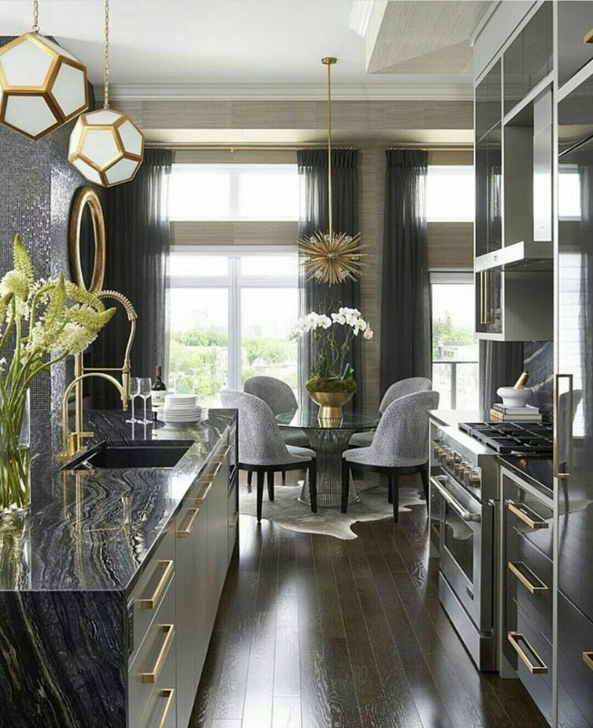 Grey Gold Kitchen