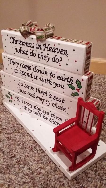 Handmade Christmas In Heaven Poem Table Top Display