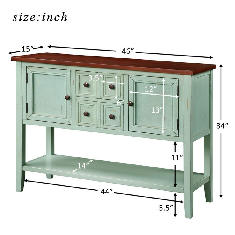 Harper & Bright Designs Cambridge Series Buffet Sideboard Console Table with Bottom Shelf (Antique Blue)
