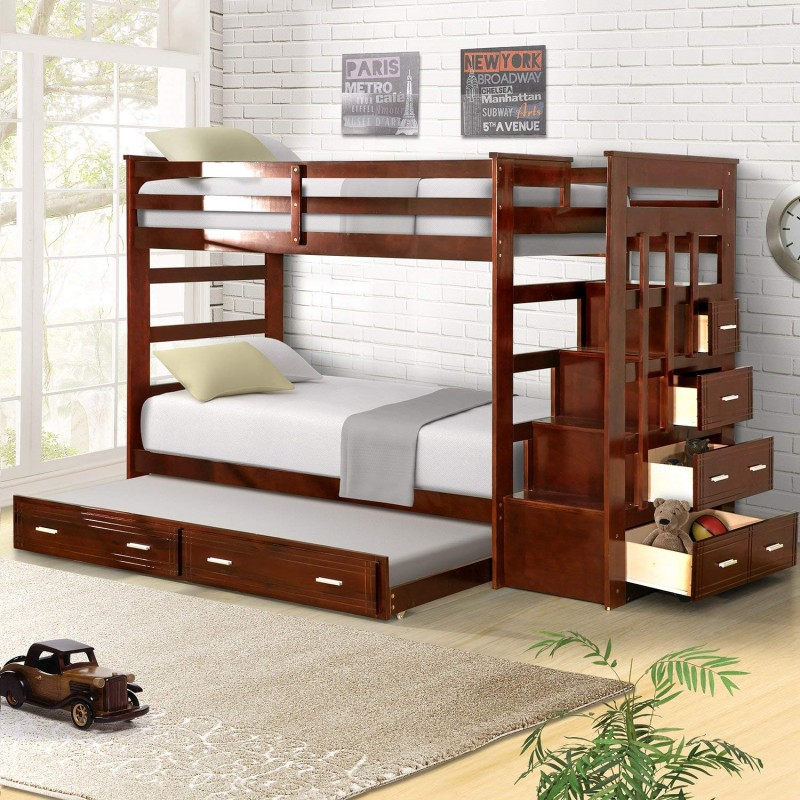 Harper & Bright Designs Trundle Bunk Bed With Storage Drawers Twin Size (Walnut)