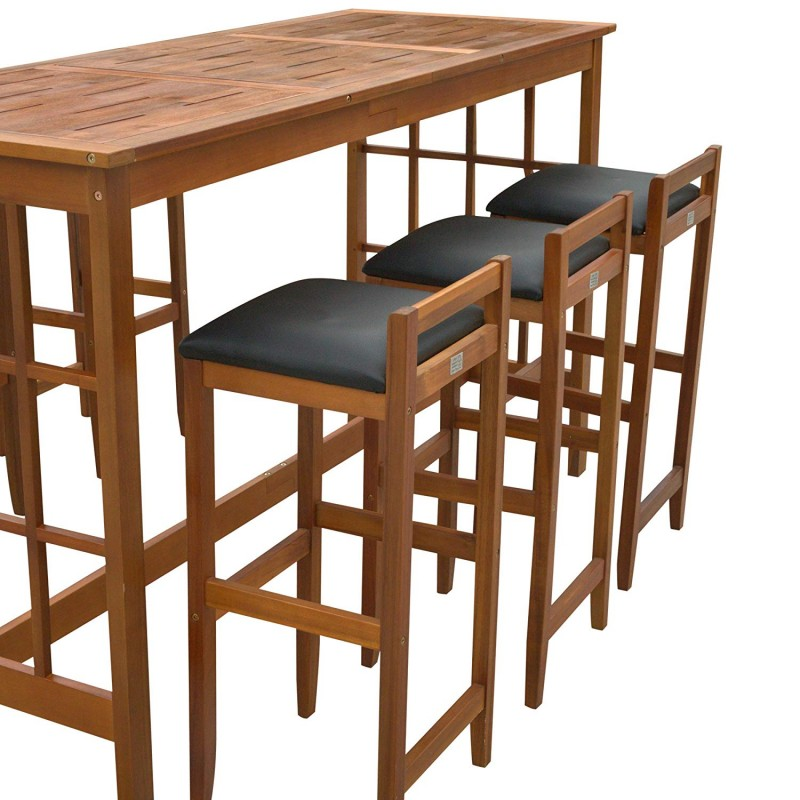 HOMCOM 7 Piece Classic Prairie School Style Dining Set Bar Height Stools Table Set Acacia Wood - Table & 6 Stools