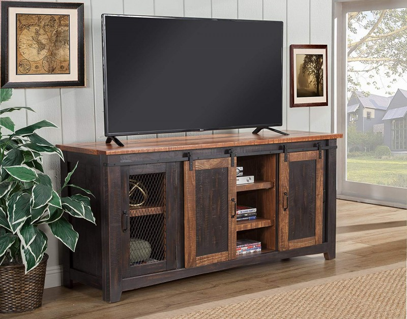 Martin Svensson Home Santa Fe 65-Inch TV Stand, Antique black & Aged Distressed Pine