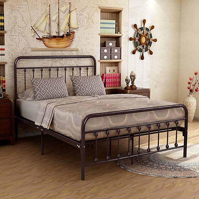 Metal Bed Frame Iron Decor Steel Queen Size Base With Headboard And