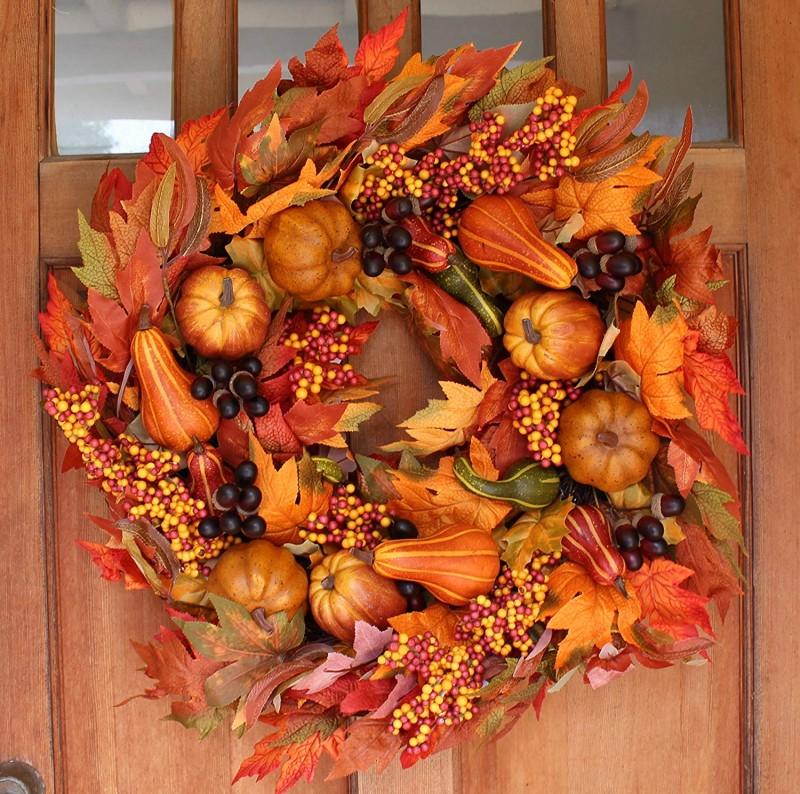 Montgomery Hollow Silk Fall Door Wreath 26 Inch   Large Autumn Door Wreath  For Outdoor Display