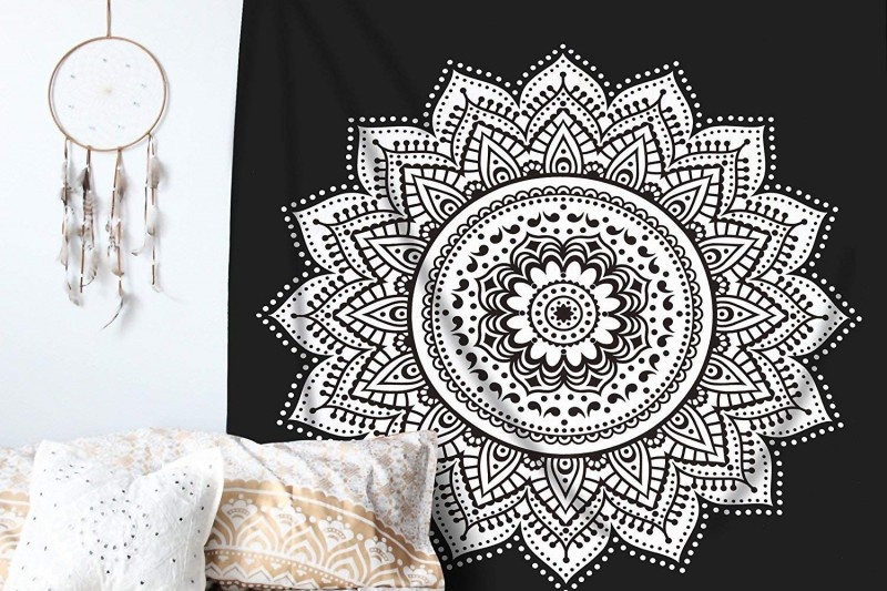 Ombre Mandala Tapestry - Black and White Indian/Hindu Wall Hanging - Bohemian Wall Decor by RawyalCrafts