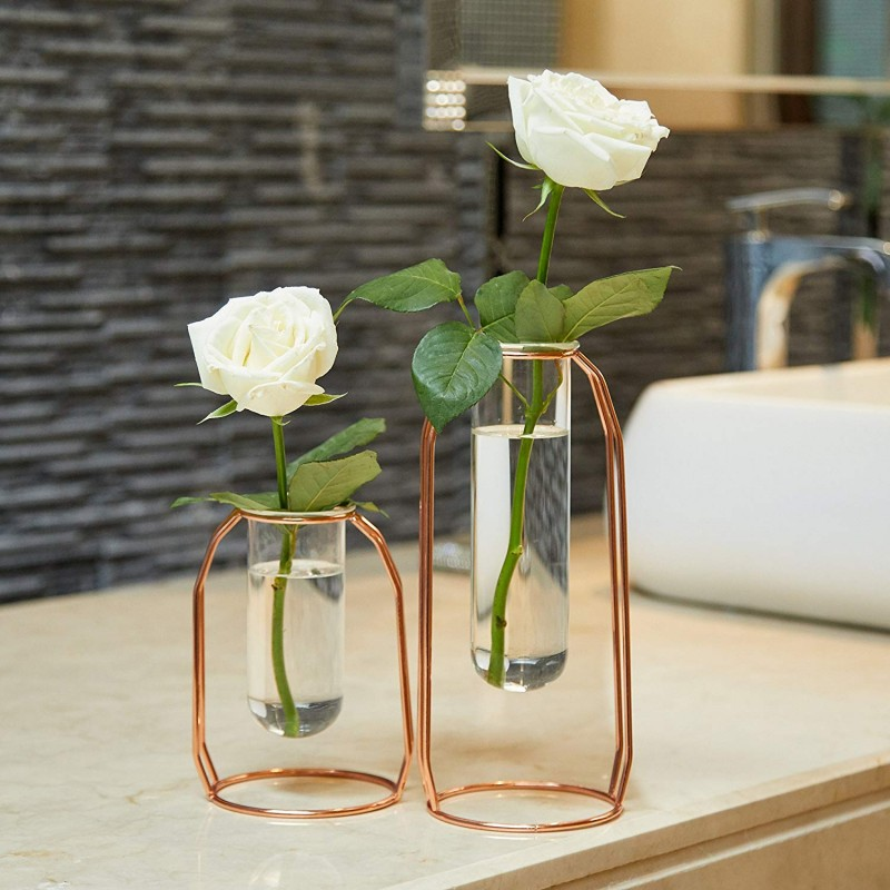 PuTwo Vases Set of 2 Metal Flower Planter Terrariums Plant Glass Cylinder Clear Decorations for Living Room, Rose Gold