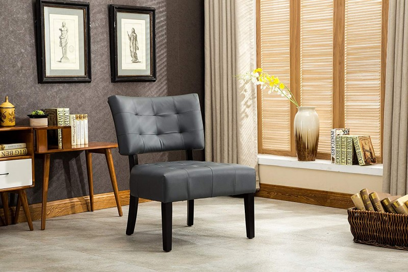Roundhill Furniture AC002GY Bally Blended Grey Leather Tufted Accent Chair with Oversized Seating