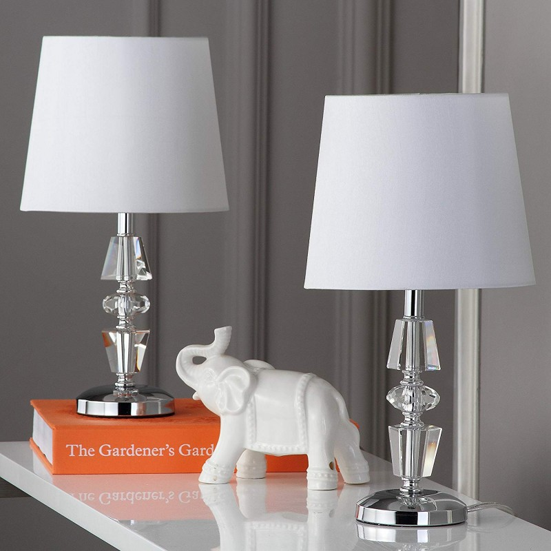 Safavieh Lighting Collection Crescendo Clear and White Tiered Crystal 15-inch Table Lamp