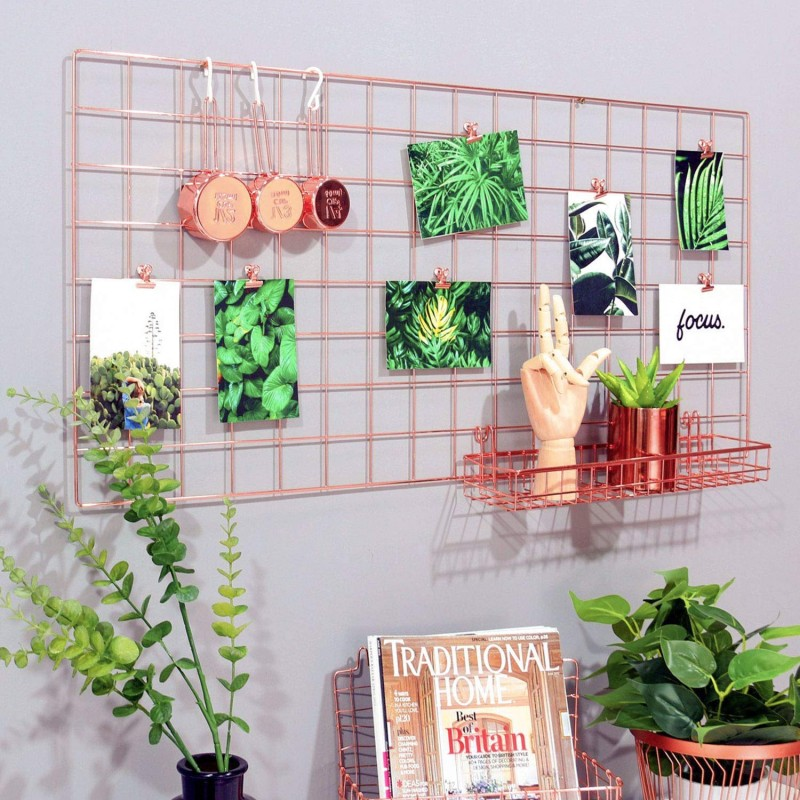 Simmer Stone Rose Gold Wall Grid Panel for Photo Hanging Display & Wall Decoration Organizer, Multi-Functional Wall Storage Display Grid, 5 Clips & 4 Nails Offered