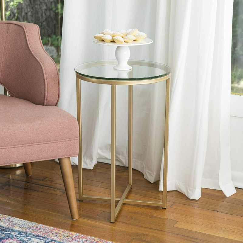 WE Furniture 16-Inch Round Side Table - Glass/Gold