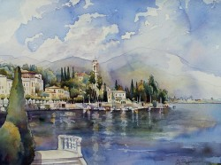 Moltrasio Lake Como Italy By Jim Smither, Watercolor