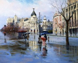 Rain Watercolor Painting By Ricardo Sanz Pintor