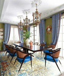 Blue Green Dinning Room