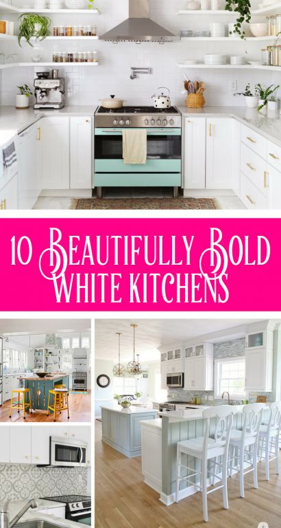 10 Wonderful Bold White Kitchens
